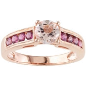 Sofia B. Rose Gold over Sterling Silver Morganite and Pink Tourmaline Ring