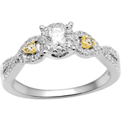 10K White Gold 1/2 CTW White and Yellow Diamond Engagement Ring, Size 7