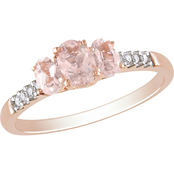 Sofia B. 10K Rose Gold Morganite and 1/10 CTW Diamond Ring