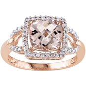 Sofia B. 10K Rose Gold Morganite and 1/5 CTW Diamond Ring