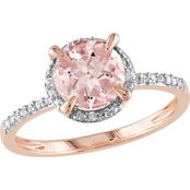 Sofia B. 10K Rose Gold Morganite Ring with Diamond Accents