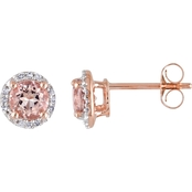 Sofia B. 10K Rose Gold Morganite Earrings with Diamond Accents