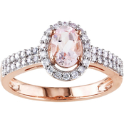 Sofia B. 10K Rose Gold Morganite and 1/3 CTW Diamond Ring