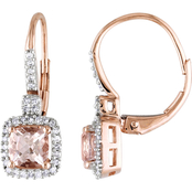 Sofia B. 10K Rose Gold Morganite and 1/5 CTW Diamond Earrings