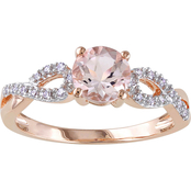 Sofia B. 10K Gold Morganite and 1/10 CTW Diamond Ring
