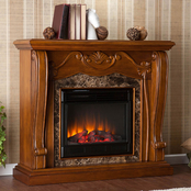 SEI Tuscan Electric Fireplace in Walnut with Faux Marble