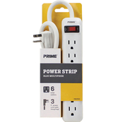 Prime Wire & Cable 6 Outlet Power Strip with 3 ft. Power Cord