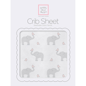 SwaddleDesigns Elephant and Chickies Fitted Crib Sheet Pastel Pink