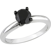Diamore 10K White Gold 1 Ct. Black Diamond Solitaire Engagement Ring