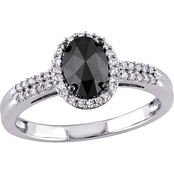 Diamore 14K White Gold 1 CTW Oval-cut Black and White Diamond Halo Engagement Ring
