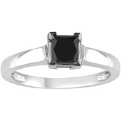 Diamore 10K White Gold 1 Ct. Princess Cut Black Diamond Solitaire Engagement Ring