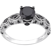 Diamore 10K White Gold 1 1/4 CTW Black Diamond Vintage Engagement Ring