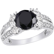 Diamore 14K White Gold 2 5/8 CTW Black and White Diamond Engagement Ring