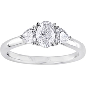 Diamore 14K White Gold 7/8 CTW Oval Cut Diamond 3 Stone Engagement Ring