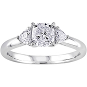 Diamore 14K White Gold 1 CTW Cushion Cut Diamond 3 Stone Engagement Ring