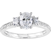 Diamore 14K White Gold 1 1/10 CTW Oval Cut Diamond 3-Stone Engagement Ring