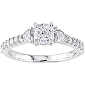 Diamore 14K White Gold 1 1/4 CTW Cushion-Cut Diamond 3 Stone Engagement Ring
