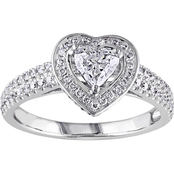 Diamore 14K White Gold 1 CTW Diamond Heart Halo Engagement Ring