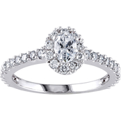 Diamore 14K White Gold 1 CTW Oval-Cut Diamond Halo Engagement Ring