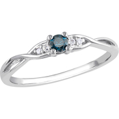 Diamore 10K White Gold 1/7 CTW Enhanced Blue and White Diamond Engagement Ring