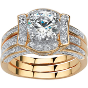 PalmBeach 14K Yellow Gold Plated Cubic Zirconia Wedding Ring Set