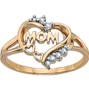 PalmBeach 10K Gold Mom Heart Ring with Diamond Accents, Size 5