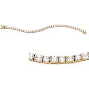 PalmBeach 14K Yellow Gold Plated Princess-Cut Cubic Zirconia Tennis Bracelet