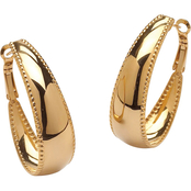 PalmBeach Gold Ion-Plated Stainless Steel Hoop Earrings