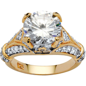 PalmBeach 18K Yellow Gold over Sterling Silver Cubic Zirconia Engagement Anniversary Ring