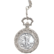PalmBeach Men's Genuine Walking Liberty Silver Half Dollar Pocket Watch DA403