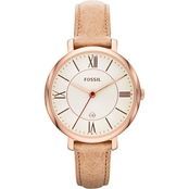 Fossil Women's Jacqueline Three Hand Leather Watch 36mm ES3487