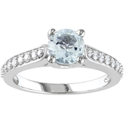 Sofia B. 10K White Gold 1/4 CTW Aquamarine and Diamond Ring