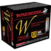 Winchester Train & Defend .38 Special 130 Gr. JHP Low Recoil, 20 Rounds