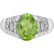 Sterling Silver Oval Peridot Ring with Diamond Accents