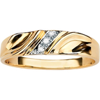 PalmBeach Men's Diagonal Diamond Accent Ring