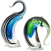 Dale Tiffany Art Glass Elephant 2 pc. Set