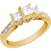 14K Gold 2 CTW 3 Stone Princess Cut Diamond Ring