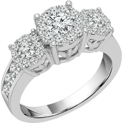 14K White Gold 1 1/2 CTW 3 Stone Diamond Ring