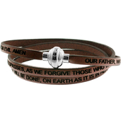 Stainless Steel Our Father Leather Bracelet