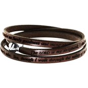 Stainless Steel Psalm 23 Leather Bracelet