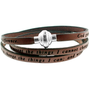 Stainless Steel Serenity Leather Bracelet