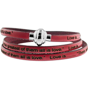 Stainless Steel Love Is... Leather Bracelet