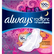 (SALWAYS Radiant, Size 4, Overnight Sanitary Pads With Wings, Scented, 10 Count