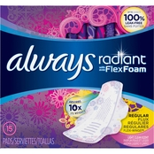 Always Radiant Regular with Wings Scented 15 ct.