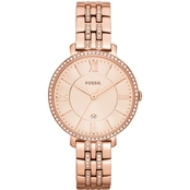 Fossil Women's Jacqueline 3 Hand Date Rose Goldtone Watch 36mm ES3546