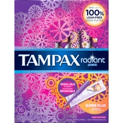Tampax Radiant Plastic Super Plus Absorbency Tampons 16 ct.