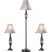 Kenroy Home Sperry Table and Floor Lamp 3 Pc. Set