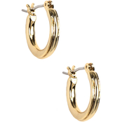 Napier Polished Goldtone Hoop with Textured Design Earrings