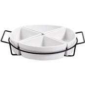 Gibson Elite Gracious Dining 4-Section Tray Set with Metal Rack