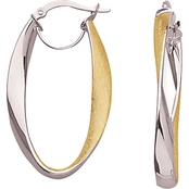14K Two Toned Gold with Diamond Texture Hoop Earrings